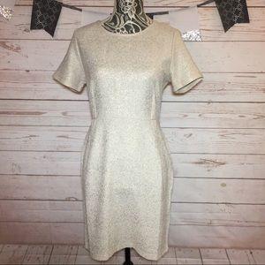 Lucky Brand Cream Gold Sheath Midi Dress Size S